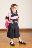 Happy Little School Girl Wearing Uniform royalty free stock image
