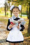 Happy little schoolgirl in autumn park Stock Photos