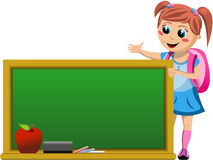 Happy Little Schoolgirl Showing Empty Blackboard. Illustration featuring a happy little schoolgirl with school bag showing and looking at empty blackboard ready Stock Image
