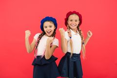 Happy little sisters. Beauty. small kid fashion. Childhood happiness. Friendship and sisterhood. childrens day. Back to. School. small girl children with stock photo