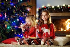 Happy little sisters having milk and cookies by a fireplace in a cozy dark living room on Christmas eve Stock Photos