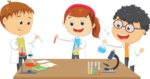 Happy little students on chemistry lesson in lab experiment. Vector illustration of happy little students on chemistry lesson in lab experiment stock illustration