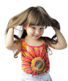 Happy little with sumptuous hair. Happy little girl. It is isolated on a white background Royalty Free Stock Images