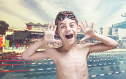 Happy little swimmer Royalty Free Stock Photos