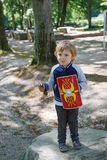 Happy little toddler boy with knight armor Royalty Free Stock Photos
