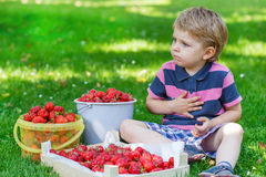 Happy little toddler boy in summer garden with buckets of ripe s Stock Photo