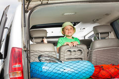 Happy little traveler ready for summer vacation stock photo
