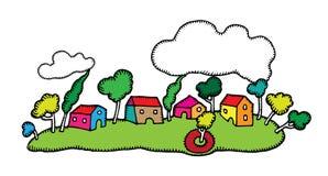 Happy Little Village Landscape Drawing Stock Image