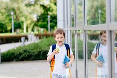 Happy little 7 years old boy at his first day at school Royalty Free Stock Images
