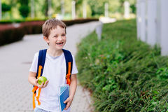 Happy little 7 years old boy at his first day at school Stock Photography