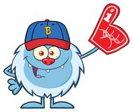 Happy Little Yeti Cartoon Mascot Character With Baseball Hat Wearing A Foam Finger. vector illustration