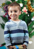 Happy little young boy happy with you christmas under the tree a Royalty Free Stock Image