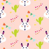 Happy llama smiling kid vector seamless repeat pattern with cacti. Royalty Free Illustration