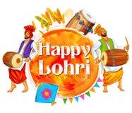 Happy Lohri background for Punjabi festival Stock Photos