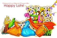 Happy Lohri background for Punjabi festival Royalty Free Stock Images