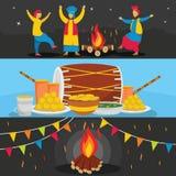 Happy Lohri festival banner set, flat style. Happy Lohri festival banner horizontal concept set. Flat illustration of 3 Happy Lohri festival vector banner Royalty Free Stock Photography