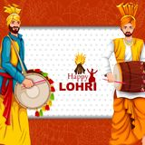Happy Lohri festival of Punjab India background. Easy to edit vector illustration on Happy Lohri festival of Punjab India background Stock Photos
