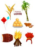 Happy Lohri festival of Punjab India background. Easy to edit vector illustration on Happy Lohri festival of Punjab India background Stock Photography
