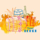 Happy Lohri festival of Punjab India background. Easy to edit vector illustration on Happy Lohri festival of Punjab India background Royalty Free Stock Photos