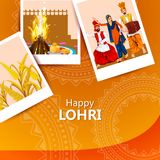 Happy Lohri festival of Punjab India background. Easy to edit vector illustration on Happy Lohri festival of Punjab India background Royalty Free Stock Images