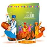 Happy Lohri holiday festival of Punjab India. Vector illustration of Happy Lohri holiday festival of Punjab India Stock Images