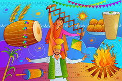 Happy Lohri Punjab festival celebration background. Vector illustration of Happy Lohri Punjab festival celebration background Royalty Free Stock Image