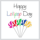 Happy Lollipop Day colorful card with five tasty sweet lollipops eps10 Royalty Free Stock Photo