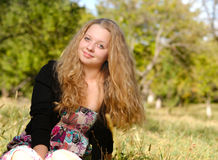 Happy long haired blonde Royalty Free Stock Images