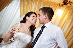 Happy look bride and groom look Stock Photography