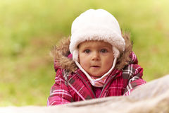 Happy looking baby with hat Stock Photography