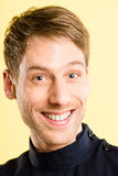Happy man portrait real people high definition yellow background Royalty Free Stock Photos