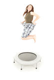 Happy losing weight girl jumping, full length Stock Photography