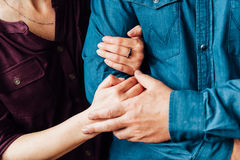 Happy love adult couple holding hands. In the morning at outdoor royalty free stock photography