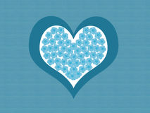 Happy love card. Card with a blue heart made with some flowers Stock Images