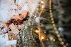 Happy love couple celebrate christmas holidays stock photography