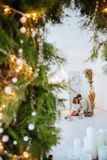 Happy love couple celebrate christmas holidays royalty free stock photography
