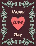 Happy love day card with ornament stock illustration