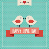 Happy Love Day card with two cute birds. Sweet hipster greeting card for Valentines Day with two cute love birds and ribbon banner Royalty Free Stock Image