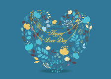 Happy Love Day! Floral heart. With small hearts and colorful graceful flowers. Yellow inscription in center of the pattern. Blue background Stock Photos