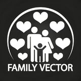 Happy love family logo design - parents with kid Stock Photography