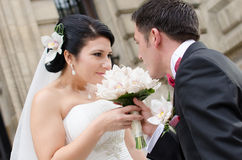 Happy in love newlyweds Stock Photo