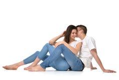 Happy in love wedding couple talking. Lovers hug girl Stock Image