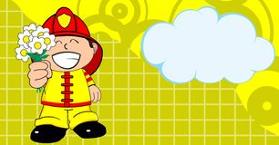 Happy love Young firefighter kid cartoon background. Cute young firefighter kid cartoon background in vector format Stock Image