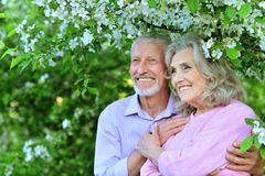 Happy  lovely couple  hugging. In spring garden royalty free stock photos