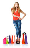 Happy lovely woman with shopping bags over white Stock Photo