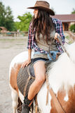 Happy lovely young woman cowgirl riding horse on ranch. Portrait of happy lovely young woman cowgirl riding horse on ranch Stock Photos