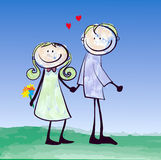 Happy lover couple dating Stock Images