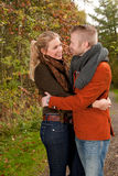 Happy lovers in the autumn Stock Photography
