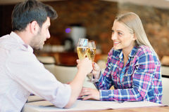 Happy lovers celebrating their anniversary Royalty Free Stock Images
