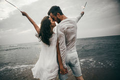 Happy lovers. Lovers enjoy life and love each other Royalty Free Stock Image